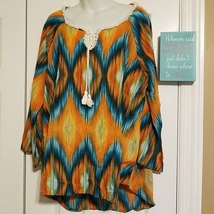 New Directions Woman Boho Top 1x long sleeve